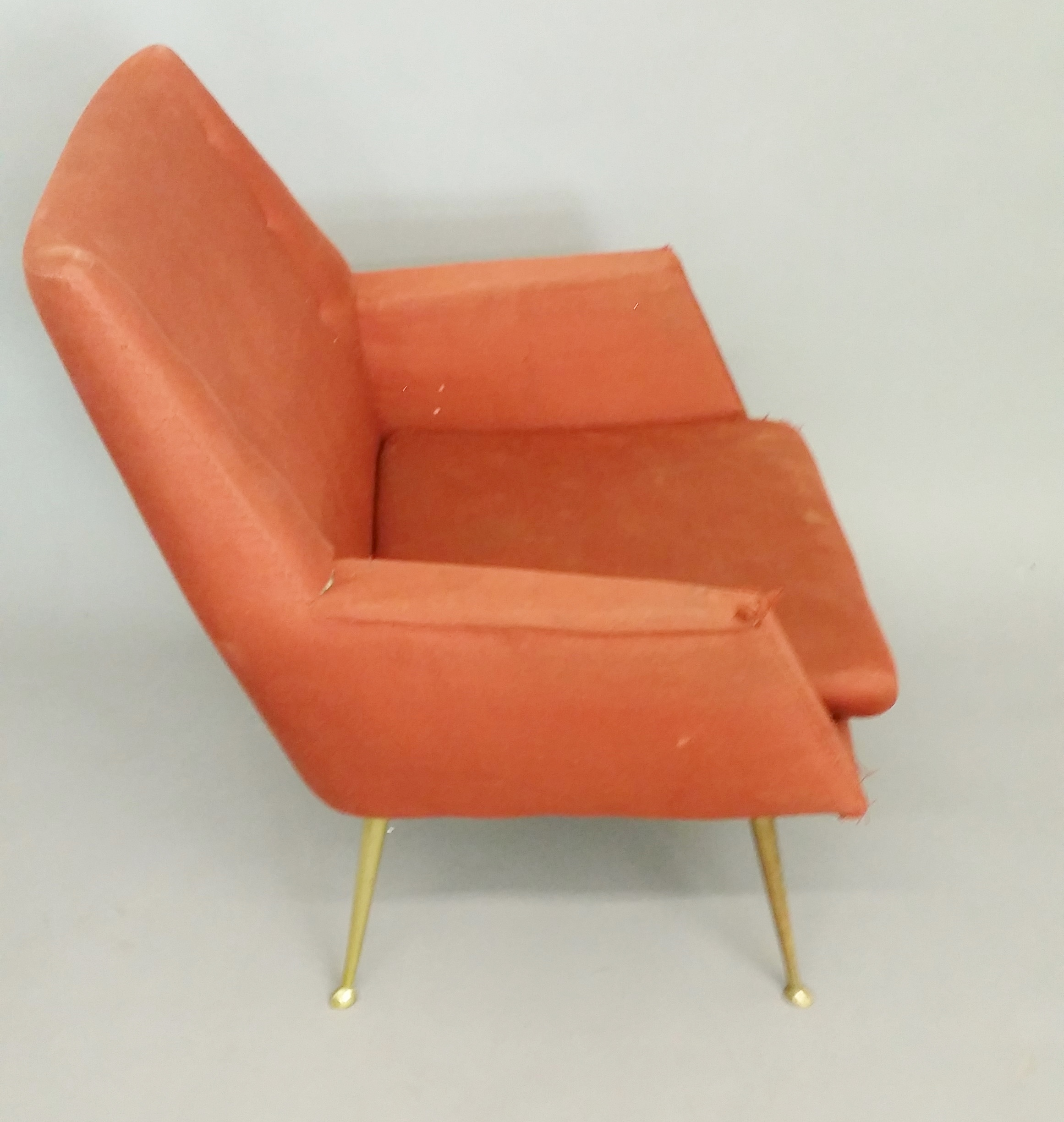 Fifties arm chairs brass legs