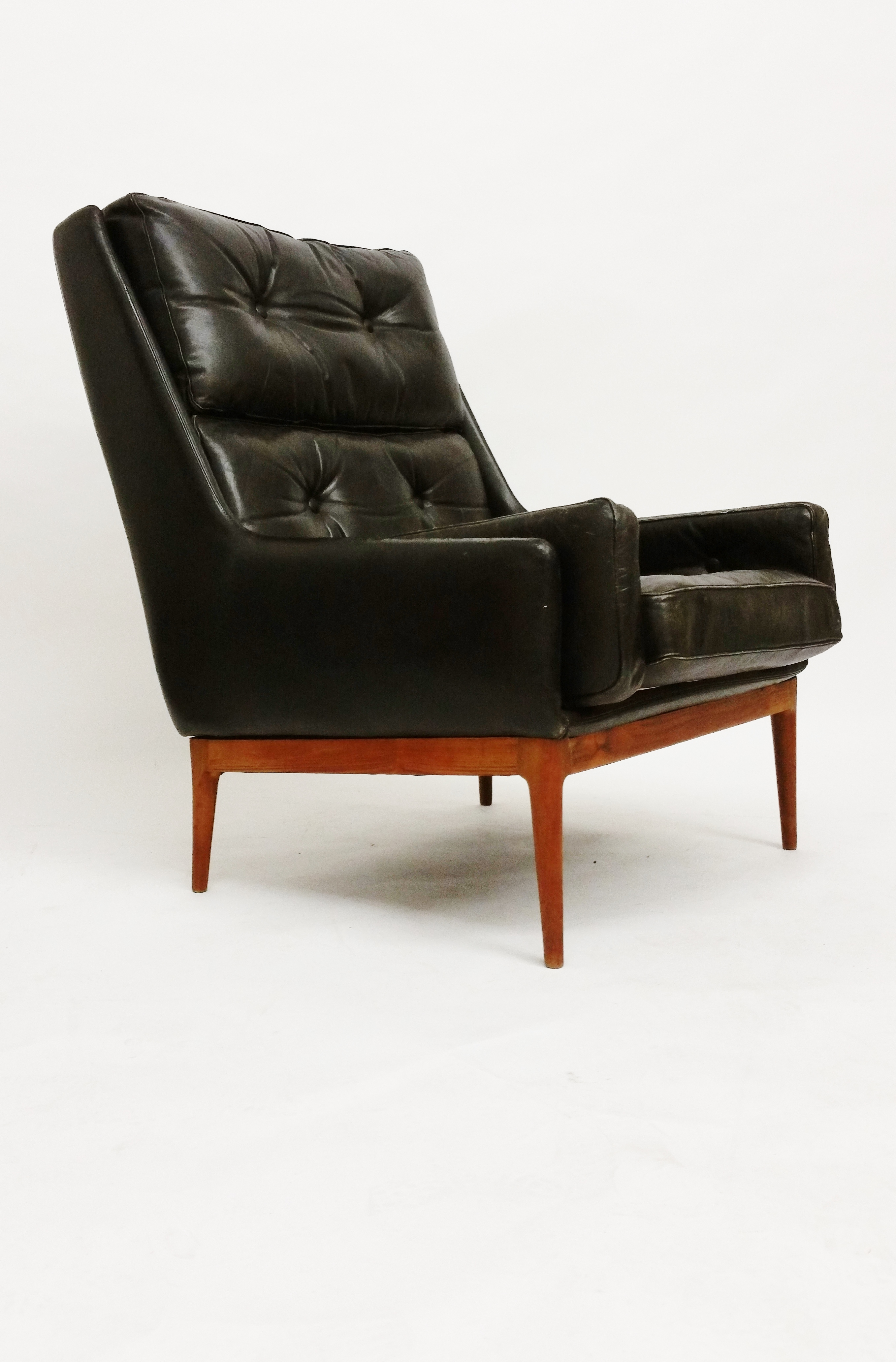Sixties leather highback armchair