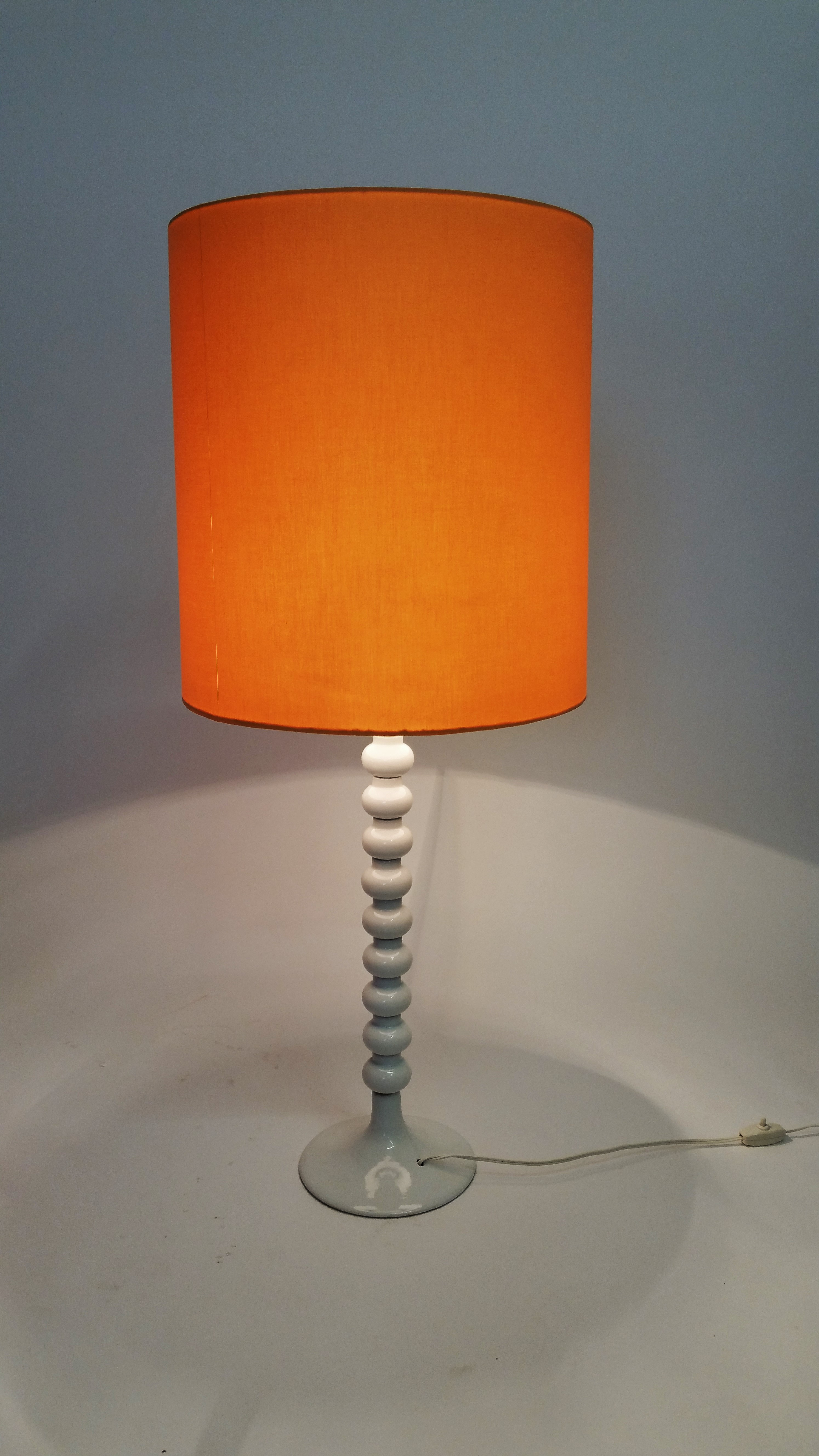 Sixties white enamel table lamp